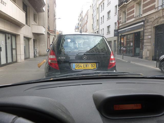 Vue de la voiture au moment du départ
