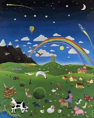 Un arc en ciel au dessus du Tor de Glastonbury, et plein d'animaux dans les champs.