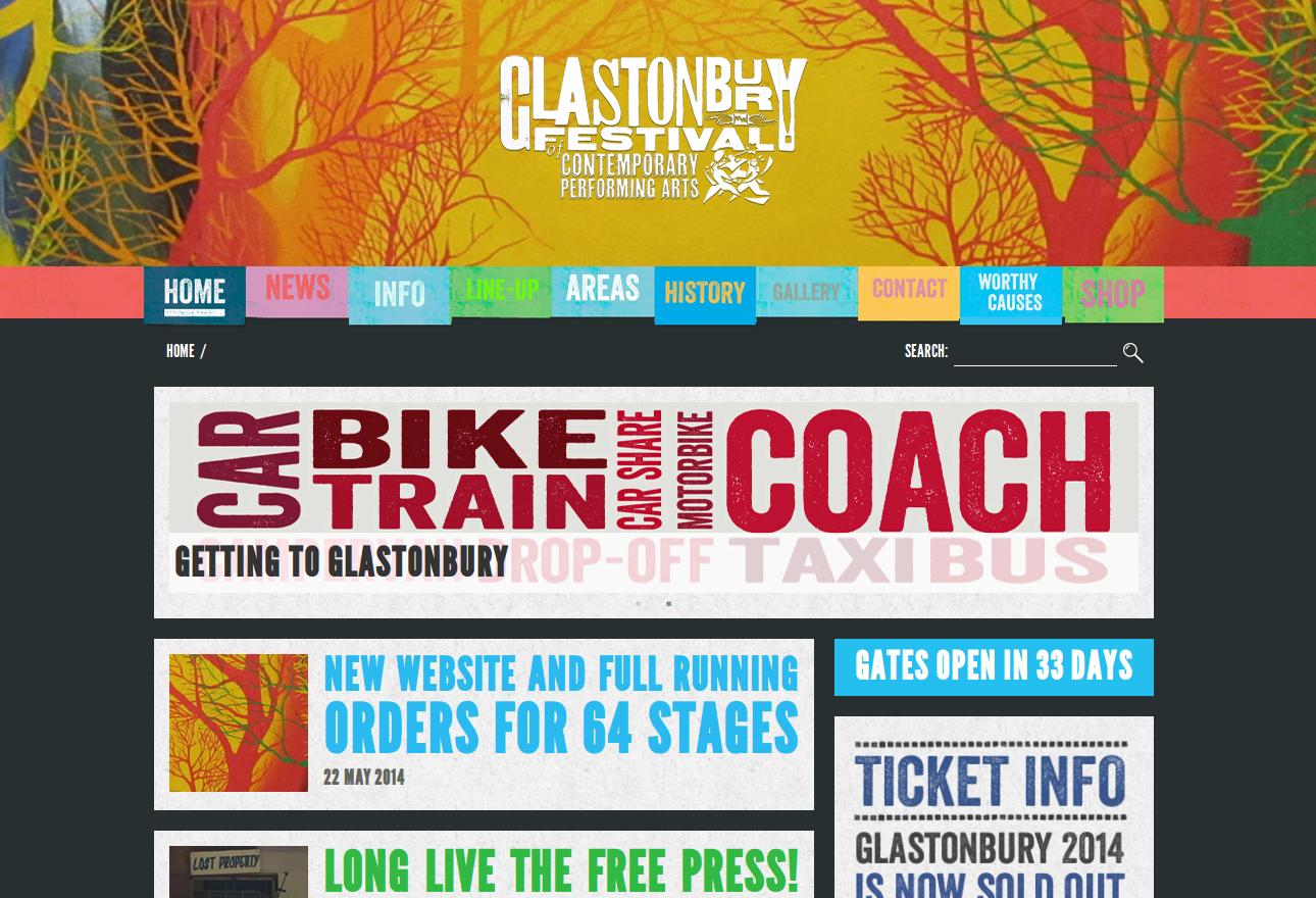 Copie écran site officiel Glastonbury Festivals