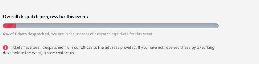 Barre de progression d'envoi des tickets