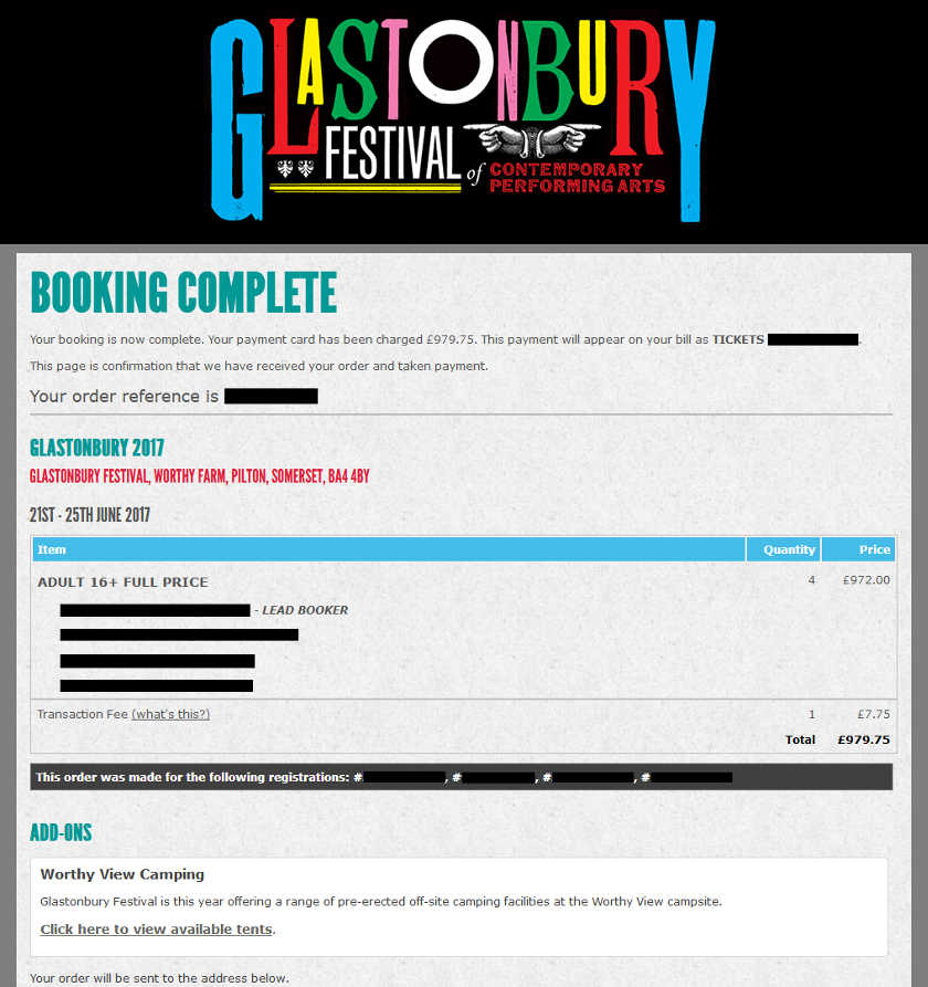 copie écran Glastonbry 2017 booking complete