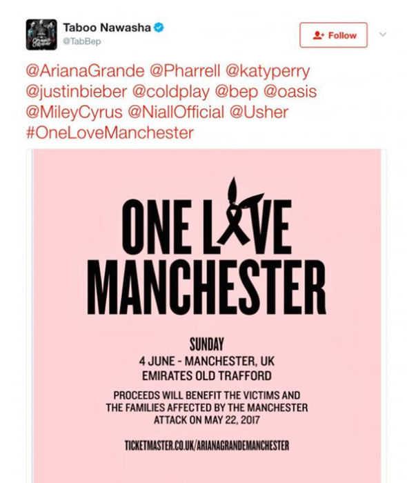 Tweet One Love Manchester