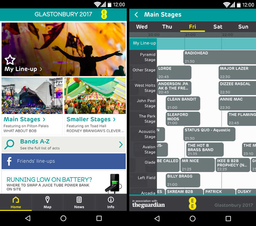 Application mobile Glastonbury 2017